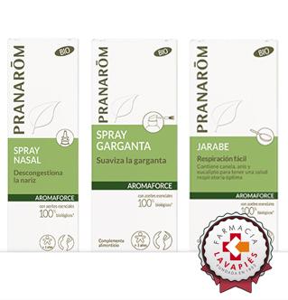 Linea aromaforce de Pranarom mejor los problemas respiratorios y de garganta durante el embarazo recomendado por Farmacia Lavapies