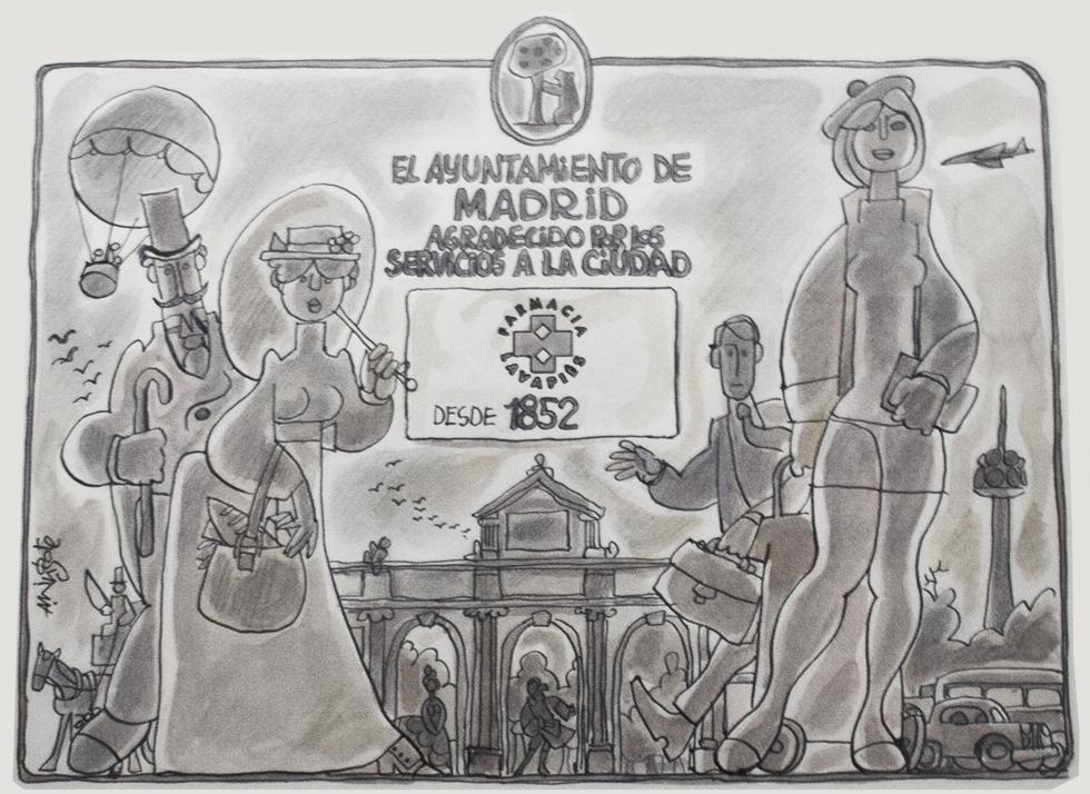 Placa de reconocimiento realizada por Mingote a la Farmacia Lavapiés