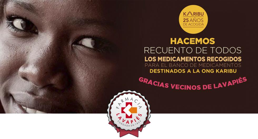 Medicamentos donados a la ong Karibu recogidos por Farmacia Lavapiés