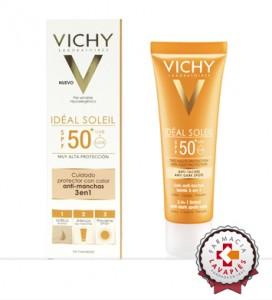 Nuevo Ideal Soleis Antimanchas 3 en 1 de Vichy de promoción en Farmacia Lavapiés