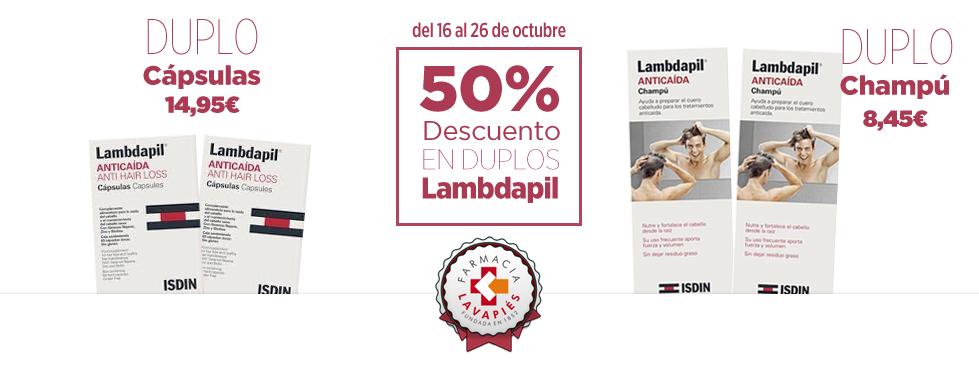 Oferta duplo Lambdapil de Isdin capsulas y champu al 50% durante Tapapiés en Farmacia Lavapies