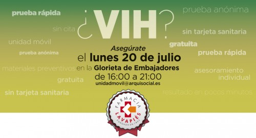 Prueba VIH gratuita en julio en Embajadores Madrid