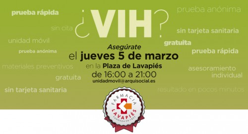 Prueba VIH y enfermedades de transmisión sexual gratis en Madrid en marzo 2015 cerca de Farmacia Lavapiés