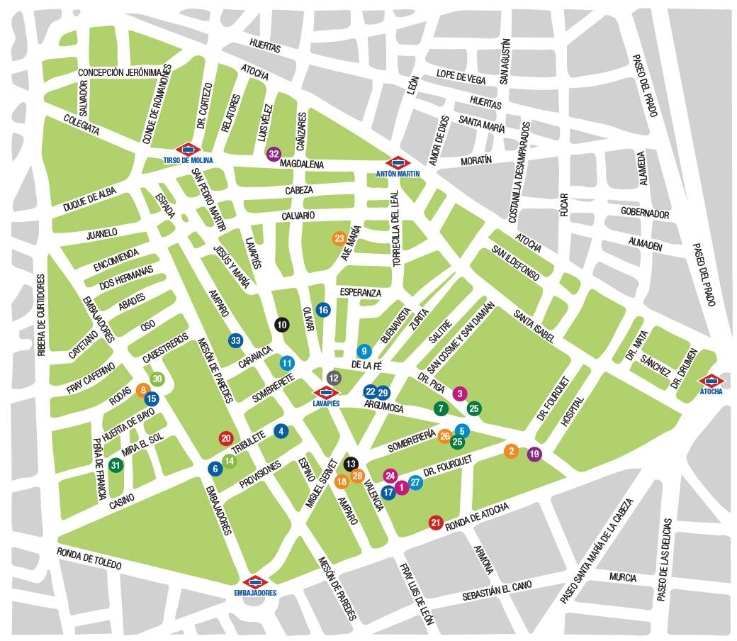 Mapa comercios participantes Mercado de los Manueles